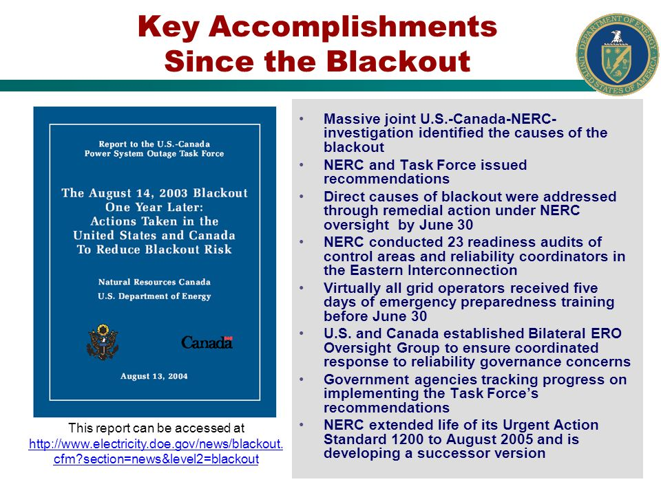 Key Accomplishments Since the Blackout Massive joint U.S.-Canada-NERC- investigation identified the causes of the blackout NERC and Task Force issued recommendations Direct causes of blackout were addressed through remedial action under NERC oversight by June 30 NERC conducted 23 readiness audits of control areas and reliability coordinators in the Eastern Interconnection Virtually all grid operators received five days of emergency preparedness training before June 30 U.S.