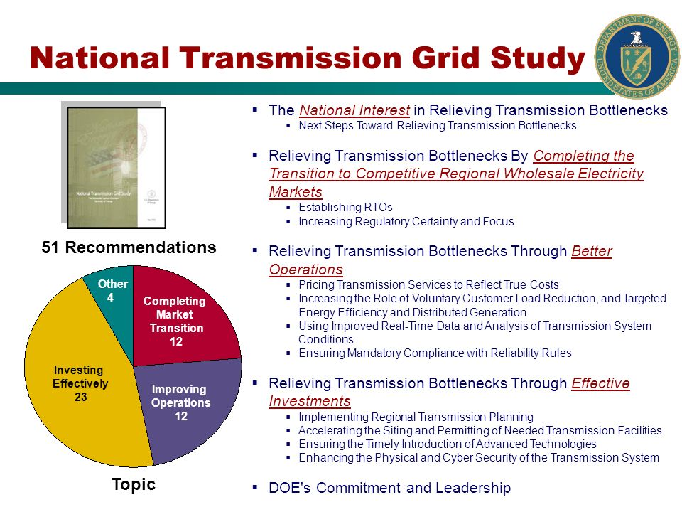 National Transmission Grid Study 51 Recommendations The National Interest in Relieving Transmission Bottlenecks Next Steps Toward Relieving Transmission Bottlenecks Relieving Transmission Bottlenecks By Completing the Transition to Competitive Regional Wholesale Electricity Markets Establishing RTOs Increasing Regulatory Certainty and Focus Relieving Transmission Bottlenecks Through Better Operations Pricing Transmission Services to Reflect True Costs Increasing the Role of Voluntary Customer Load Reduction, and Targeted Energy Efficiency and Distributed Generation Using Improved Real-Time Data and Analysis of Transmission System Conditions Ensuring Mandatory Compliance with Reliability Rules Relieving Transmission Bottlenecks Through Effective Investments Implementing Regional Transmission Planning Accelerating the Siting and Permitting of Needed Transmission Facilities Ensuring the Timely Introduction of Advanced Technologies Enhancing the Physical and Cyber Security of the Transmission System DOE s Commitment and Leadership Topic Completing Market Transition 12 Improving Operations 12 Investing Effectively 23 Other 4