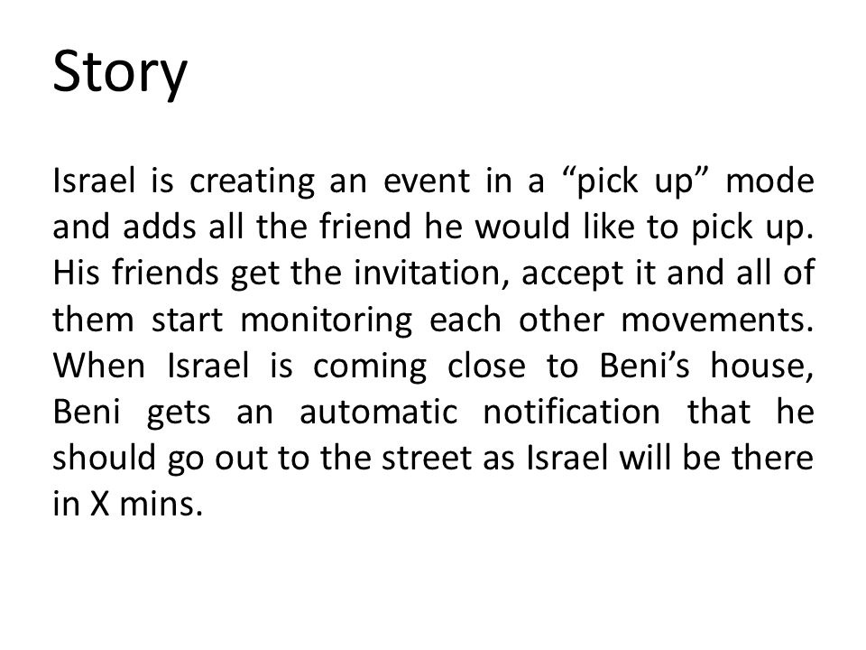 Story Israel is creating an event in a pick up mode and adds all the friend he would like to pick up.