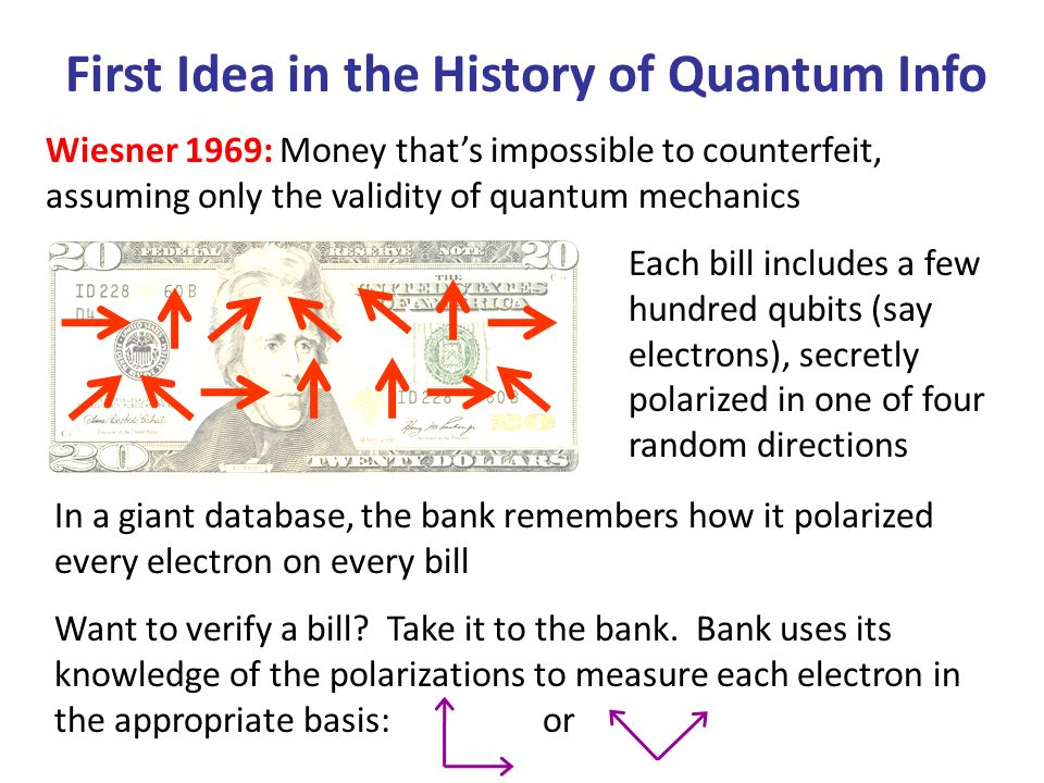 First Idea in the History of Quantum Info Wiesner 1969: Money thats impossible to counterfeit, assuming only the validity of quantum mechanics Each bill includes a few hundred qubits (say electrons), secretly polarized in one of four random directions In a giant database, the bank remembers how it polarized every electron on every bill Want to verify a bill.