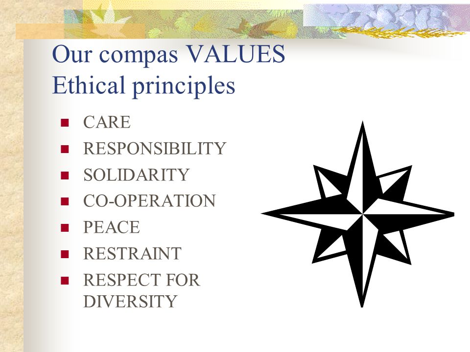 Our compas VALUES Ethical principles CARE RESPONSIBILITY SOLIDARITY CO-OPERATION PEACE RESTRAINT RESPECT FOR DIVERSITY