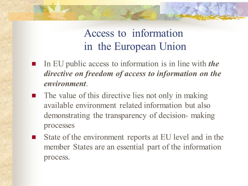 Access to information in the European Union In EU public access to information is in line with the directive on freedom of access to information on the environment.