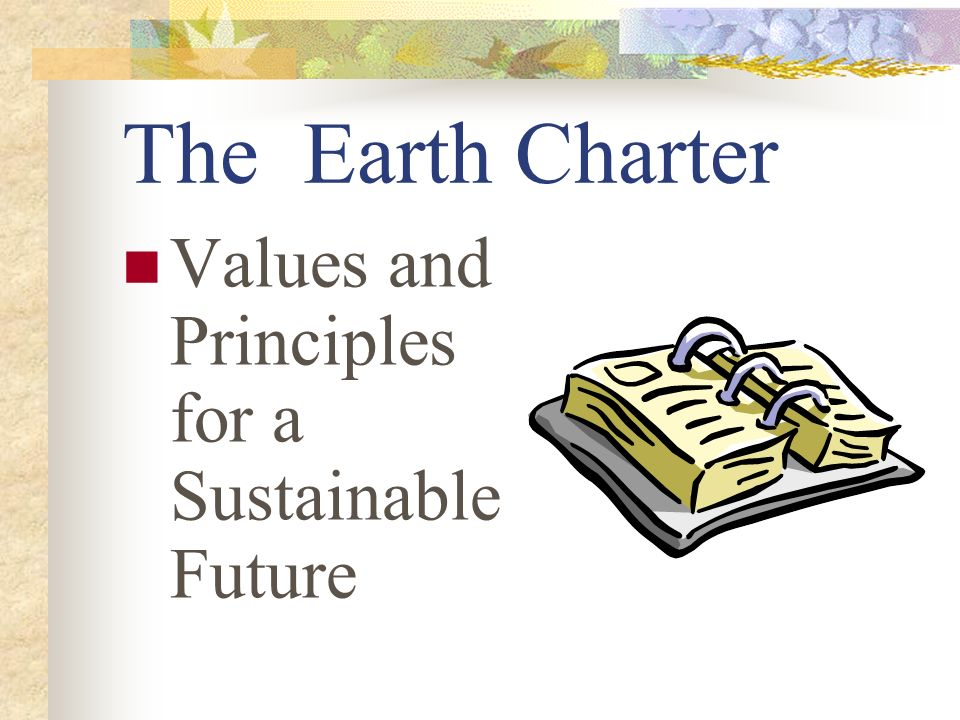 The Earth Charter Values and Principles for a Sustainable Future