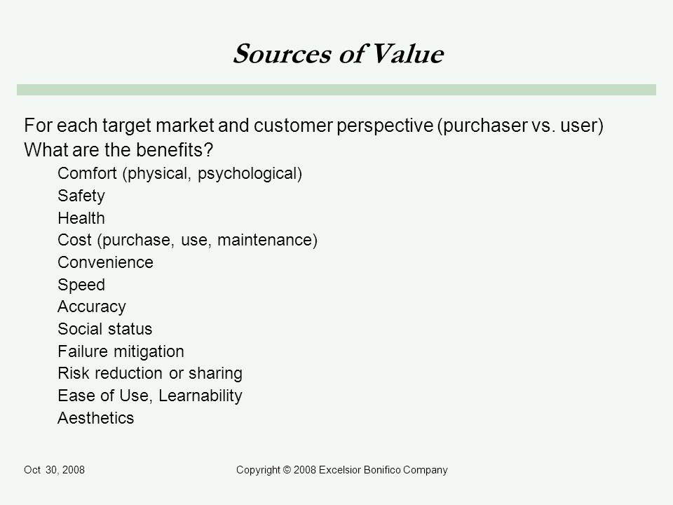 Oct 30, 2008Copyright © 2008 Excelsior Bonifico Company Sources of Value For each target market and customer perspective (purchaser vs.