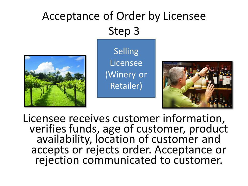Acceptance of Order by Licensee Step 3 Licensee receives customer information, verifies funds, age of customer, product availability, location of customer and accepts or rejects order.