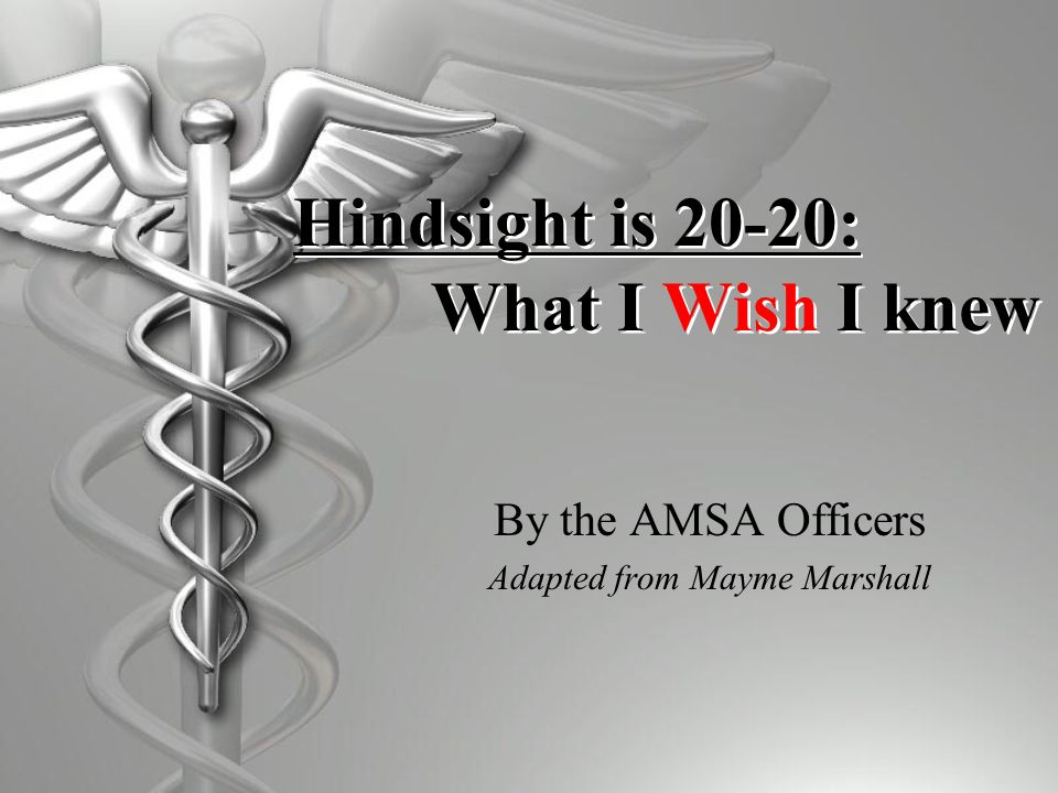 Hindsight is 20-20:. What I Wish I knew By the AMSA Officers Adapted from Mayme Marshall