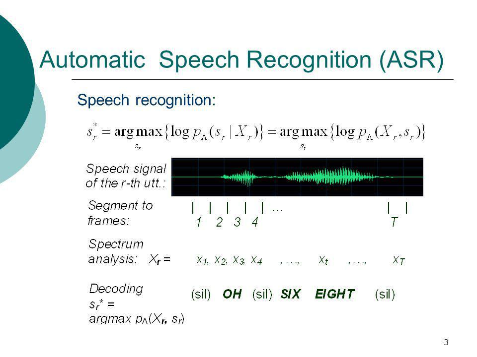 3 Automatic Speech Recognition (ASR) Speech recognition: