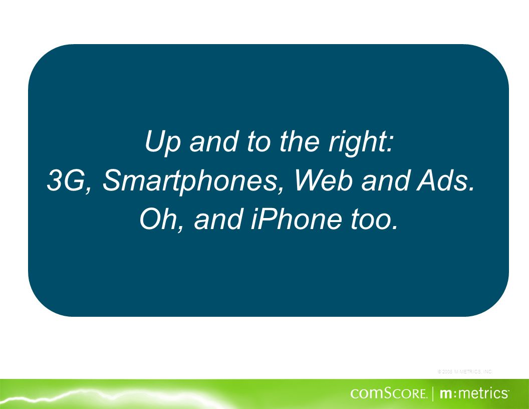 © 2008 M:METRICS, INC. Up and to the right: 3G, Smartphones, Web and Ads. Oh, and iPhone too.