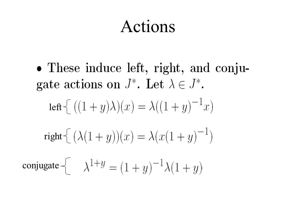 Actions left right conjugate