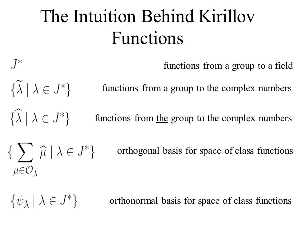The Intuition Behind Kirillov Functions functions from a group to a field functions from a group to the complex numbers functions from the group to the complex numbers orthonormal basis for space of class functions orthogonal basis for space of class functions