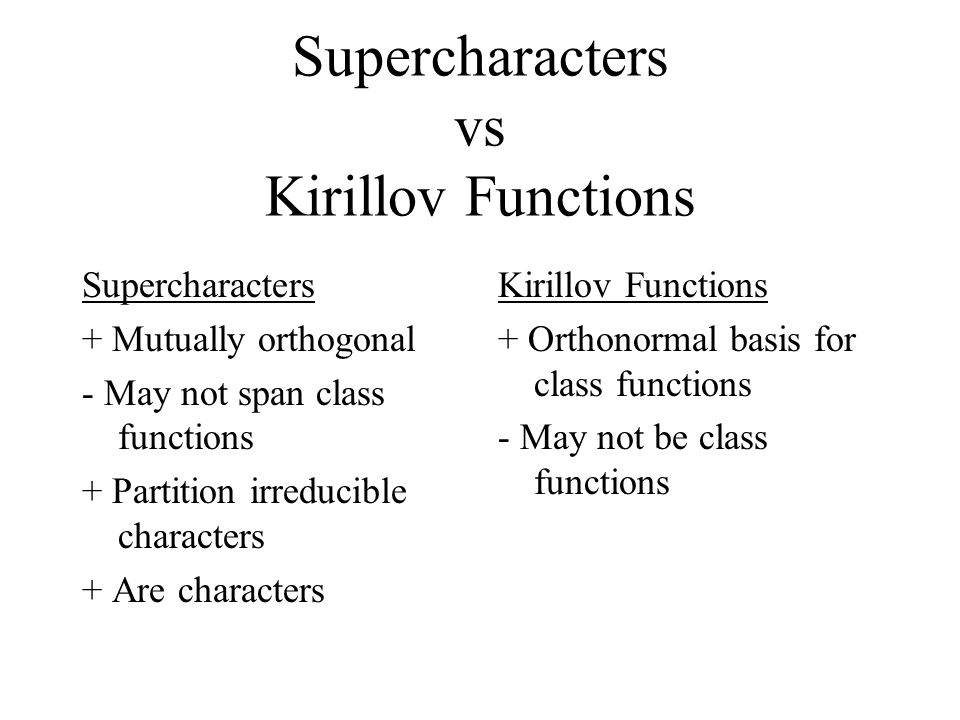 Supercharacters vs Kirillov Functions Supercharacters + Mutually orthogonal - May not span class functions + Partition irreducible characters + Are characters Kirillov Functions + Orthonormal basis for class functions - May not be class functions