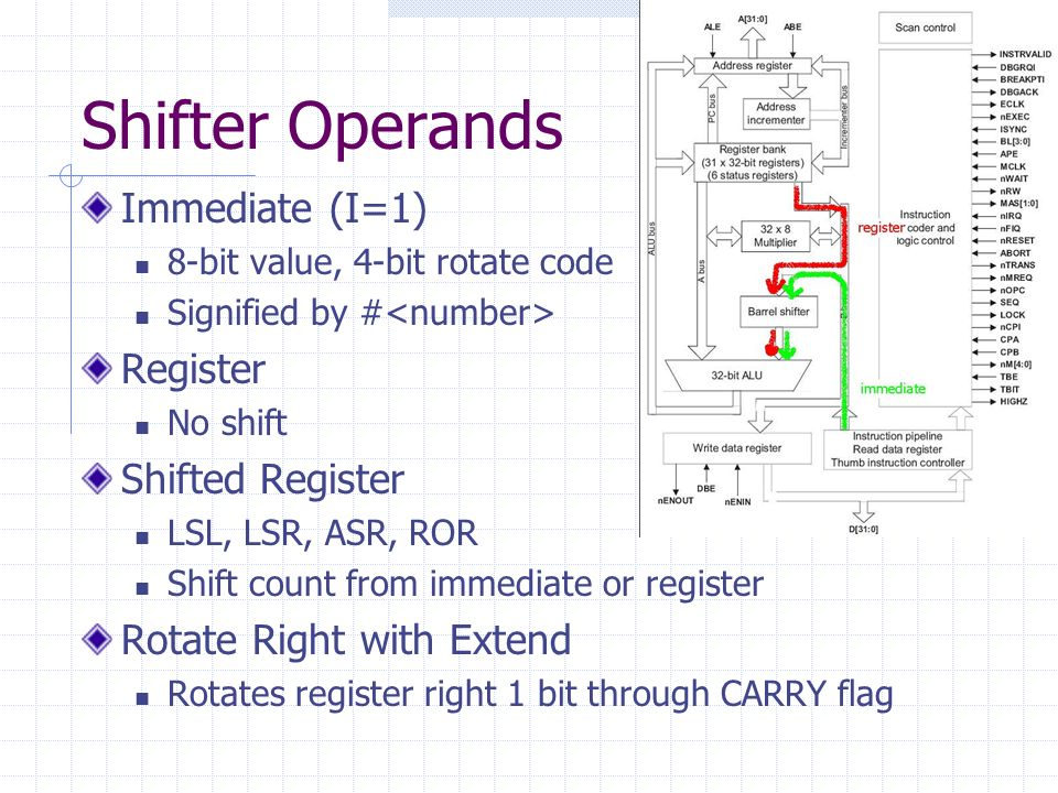 Shifter Operands Immediate (I=1) 8-bit value, 4-bit rotate code Signified by # Register No shift Shifted Register LSL, LSR, ASR, ROR Shift count from immediate or register Rotate Right with Extend Rotates register right 1 bit through CARRY flag