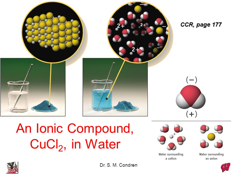 Dr. S. M. Condren An Ionic Compound, CuCl 2, in Water CCR, page 177