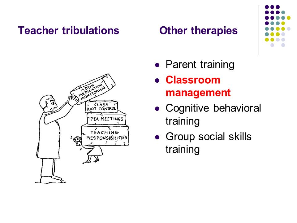 Teacher tribulations Other therapies Parent training Classroom management Cognitive behavioral training Group social skills training