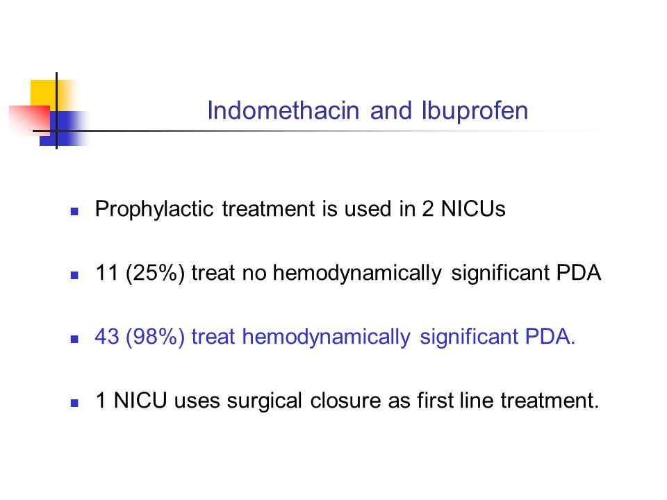 Indomethacin and Ibuprofen Prophylactic treatment is used in 2 NICUs 11 (25%) treat no hemodynamically significant PDA 43 (98%) treat hemodynamically significant PDA.
