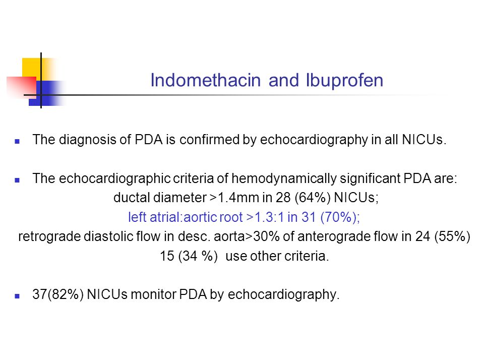 Indomethacin and Ibuprofen The diagnosis of PDA is confirmed by echocardiography in all NICUs.