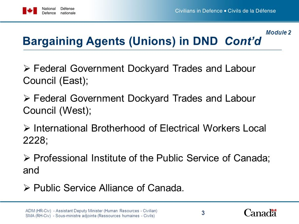 ADM (HR-Civ) - Assistant Deputy Minister (Human Resources - Civilian) SMA (RH-Civ) - Sous-ministre adjointe (Ressources humaines - Civils) 3 Federal Government Dockyard Trades and Labour Council (East); Federal Government Dockyard Trades and Labour Council (West); International Brotherhood of Electrical Workers Local 2228; Professional Institute of the Public Service of Canada; and Public Service Alliance of Canada.