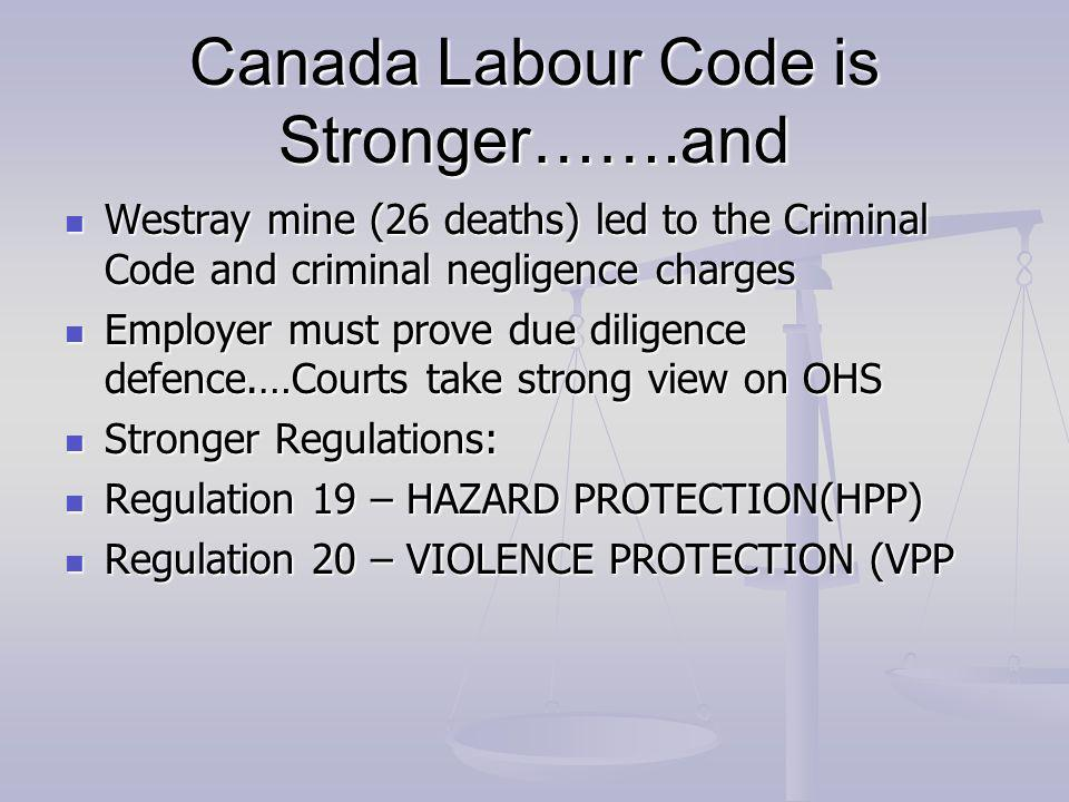 Canada Labour Code is Stronger…….and Westray mine (26 deaths) led to the Criminal Code and criminal negligence charges Westray mine (26 deaths) led to the Criminal Code and criminal negligence charges Employer must prove due diligence defence.…Courts take strong view on OHS Employer must prove due diligence defence.…Courts take strong view on OHS Stronger Regulations: Stronger Regulations: Regulation 19 – HAZARD PROTECTION(HPP) Regulation 19 – HAZARD PROTECTION(HPP) Regulation 20 – VIOLENCE PROTECTION (VPP Regulation 20 – VIOLENCE PROTECTION (VPP
