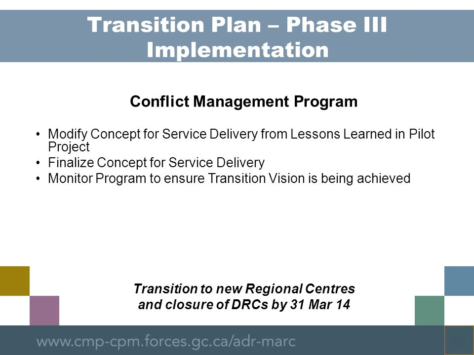 Transition Plan – Phase III Implementation Conflict Management Program Modify Concept for Service Delivery from Lessons Learned in Pilot Project Finalize Concept for Service Delivery Monitor Program to ensure Transition Vision is being achieved Transition to new Regional Centres and closure of DRCs by 31 Mar 14
