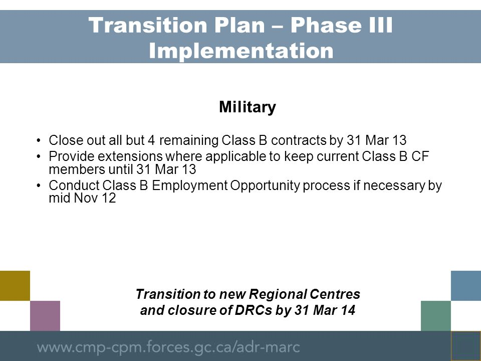 Transition Plan – Phase III Implementation Military Close out all but 4 remaining Class B contracts by 31 Mar 13 Provide extensions where applicable to keep current Class B CF members until 31 Mar 13 Conduct Class B Employment Opportunity process if necessary by mid Nov 12 Transition to new Regional Centres and closure of DRCs by 31 Mar 14