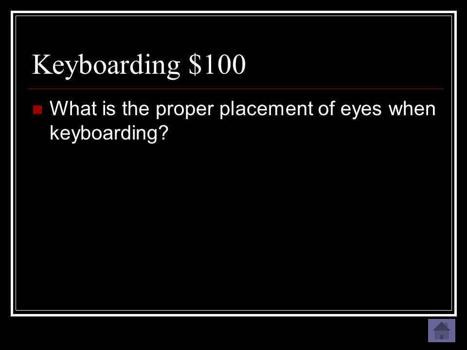 Keyboarding $100 On the document being typed