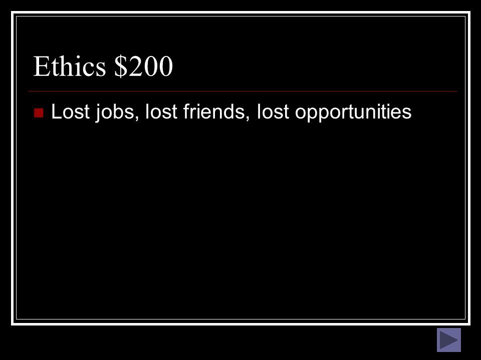 Ethics $100 What are the rules of right and wrong behavior