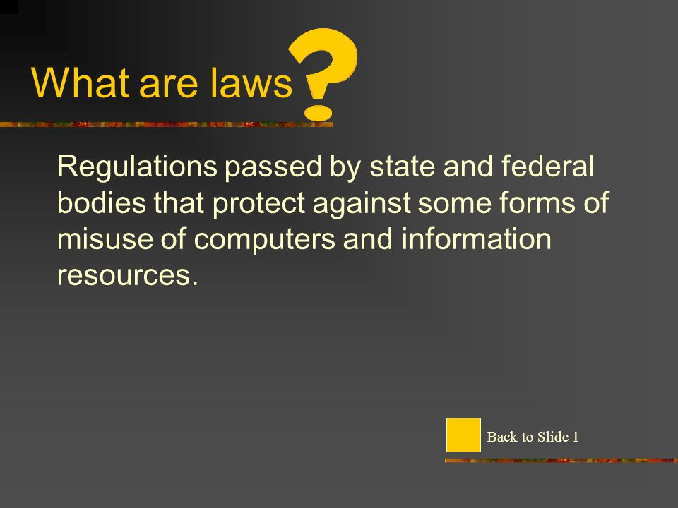 What are laws Regulations passed by state and federal bodies that protect against some forms of misuse of computers and information resources.