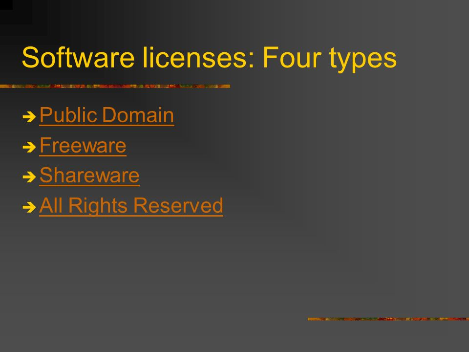 Software licenses: Four types Public Domain Freeware Shareware All Rights Reserved