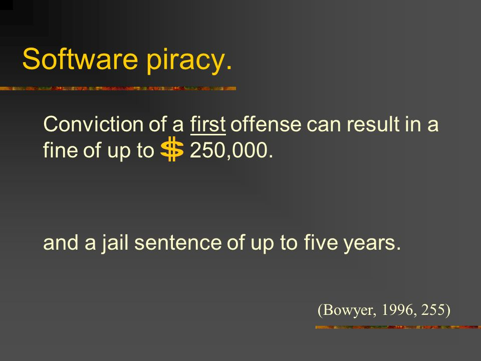 Software piracy. Conviction of a first offense can result in a fine of up to 250,000.