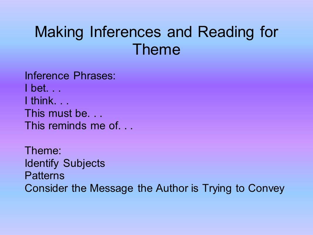 Making Inferences and Reading for Theme Inference Phrases: I bet...