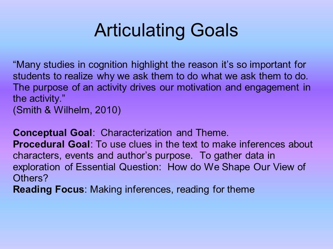 Articulating Goals Many studies in cognition highlight the reason its so important for students to realize why we ask them to do what we ask them to do.