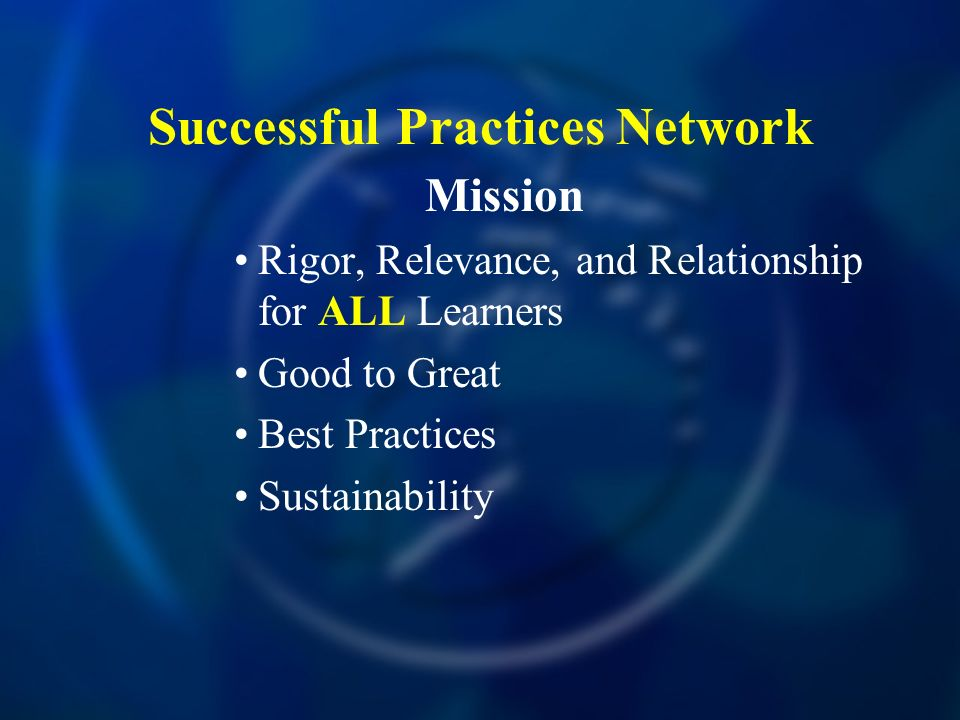 Successful Practices Network Mission Rigor, Relevance, and Relationship for ALL Learners Good to Great Best Practices Sustainability