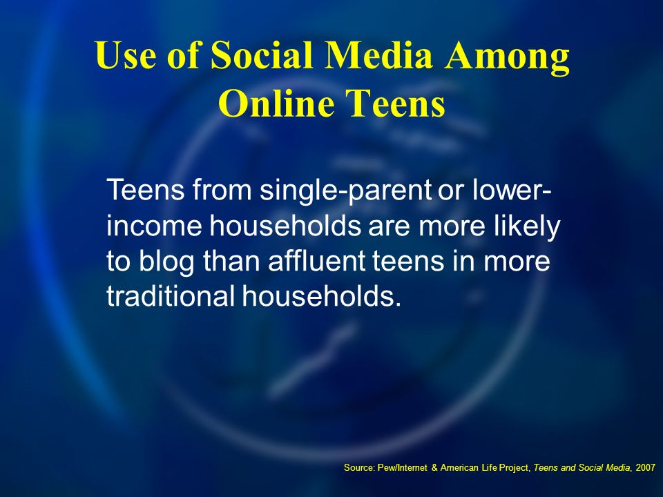 Use of Social Media Among Online Teens Source: Pew/Internet & American Life Project, Teens and Social Media, 2007 Teens from single-parent or lower- income households are more likely to blog than affluent teens in more traditional households.
