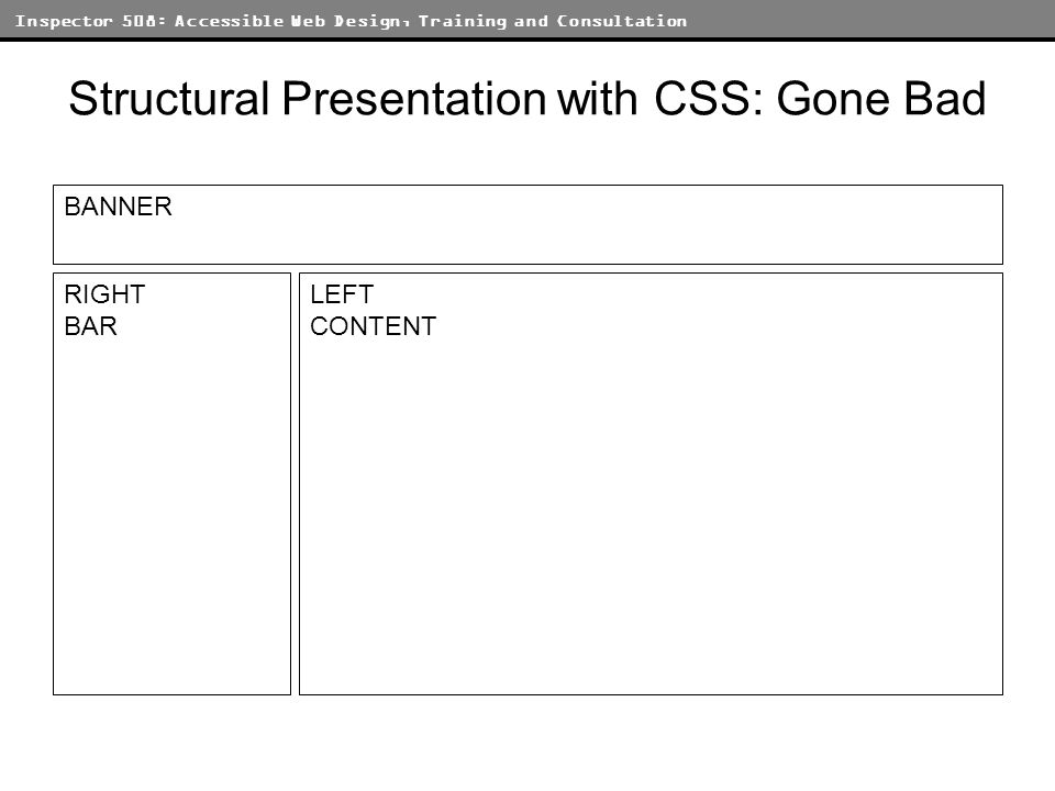 Inspector 508: Accessible Web Design, Training and Consultation Structural Presentation with CSS: Gone Bad BANNER LEFT CONTENT RIGHT BAR