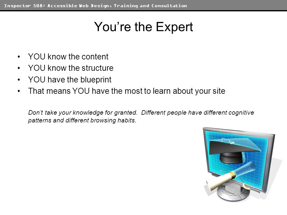 Inspector 508: Accessible Web Design, Training and Consultation Youre the Expert YOU know the content YOU know the structure YOU have the blueprint That means YOU have the most to learn about your site Dont take your knowledge for granted.