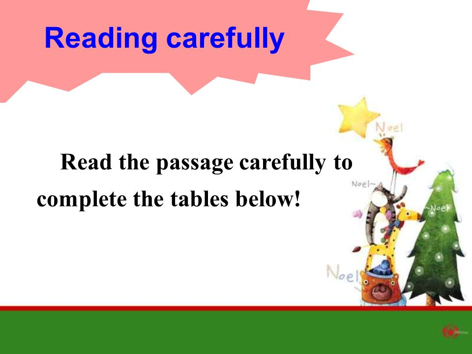 Read the passage carefully to complete the tables below! Reading carefully