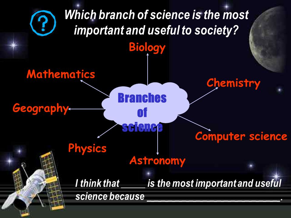 Branches of science Biology Mathematics Chemistry Physics Computer science Astronomy Which branch of science is the most important and useful to society.