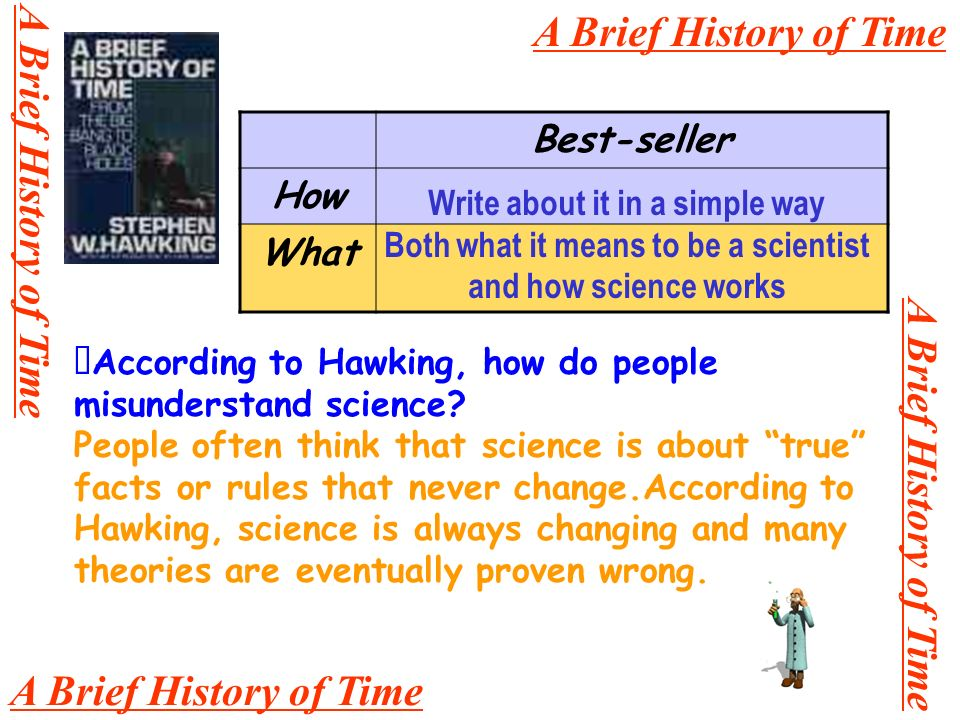 A Brief History of Time Best-seller How What Write about it in a simple way Both what it means to be a scientist and how science works According to Hawking, how do people misunderstand science.