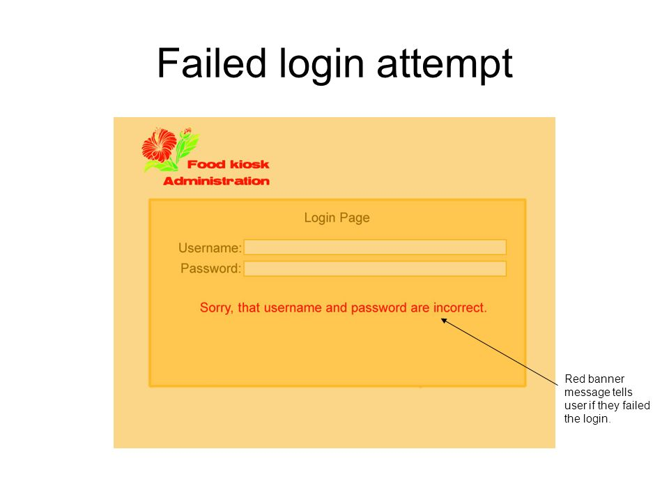 Failed login attempt Red banner message tells user if they failed the login.