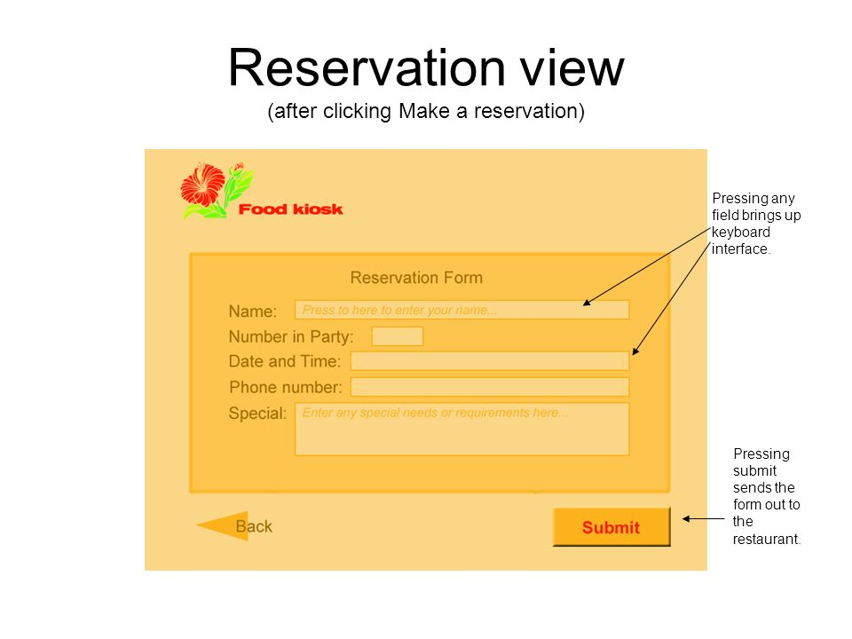 Reservation view (after clicking Make a reservation) Pressing any field brings up keyboard interface.