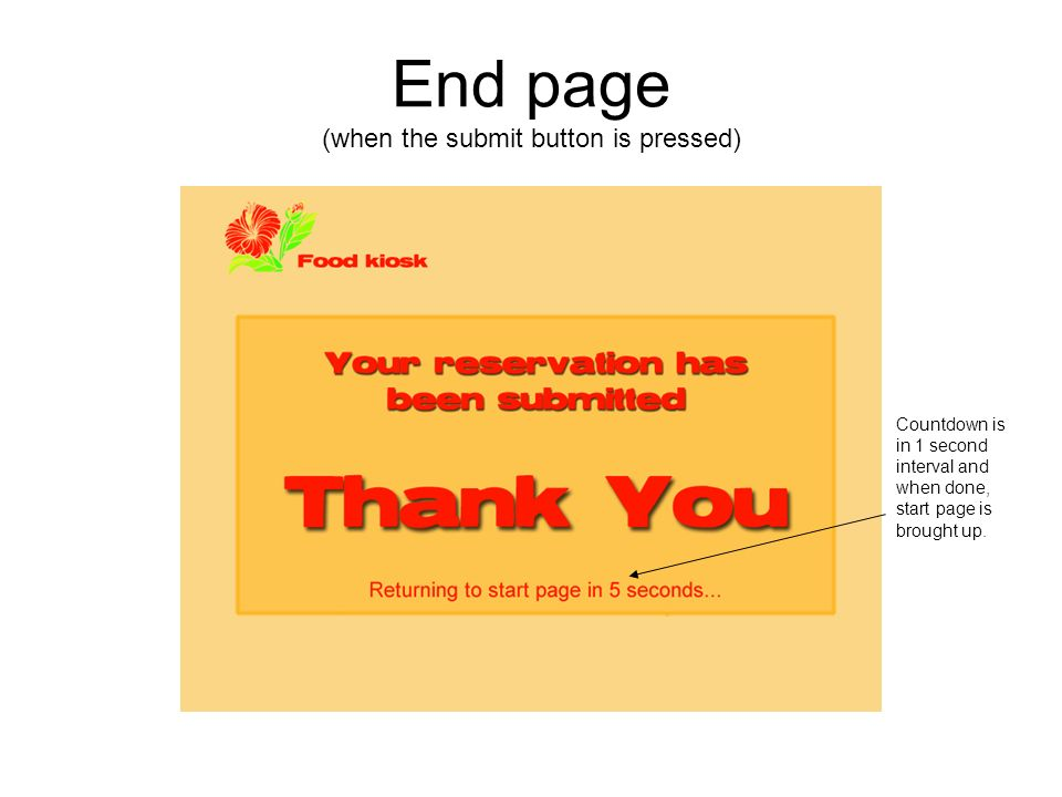 End page (when the submit button is pressed) Countdown is in 1 second interval and when done, start page is brought up.