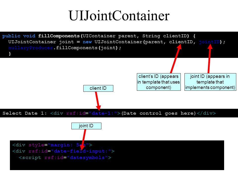 UIJointContainer public void fillComponents(UIContainer parent, String clientID) { UIJointContainer joint = new UIJointContainer(parent, clientID, jointID); nullaryProducer.fillComponents(joint); } clients ID (appears in template that uses component) joint ID (appears in template that implements component) Select Date 1: (Date control goes here) client ID joint ID