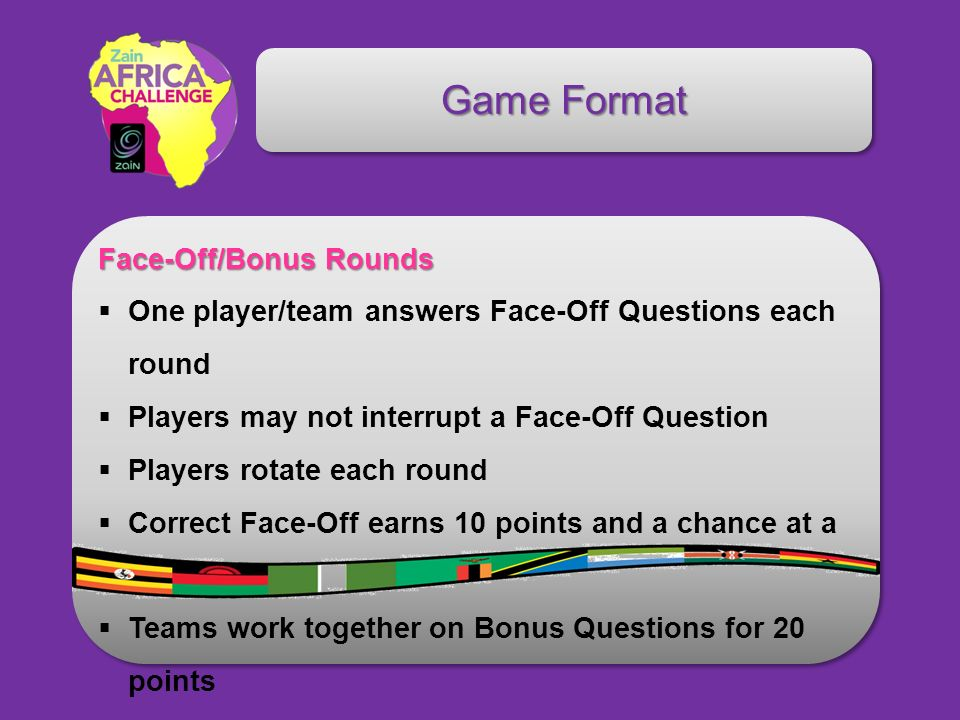 Game Format Face-Off/Bonus Rounds One player/team answers Face-Off Questions each round Players may not interrupt a Face-Off Question Players rotate each round Correct Face-Off earns 10 points and a chance at a Bonus Teams work together on Bonus Questions for 20 points