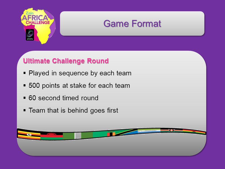 Game Format Ultimate Challenge Round Played in sequence by each team 500 points at stake for each team 60 second timed round Team that is behind goes first