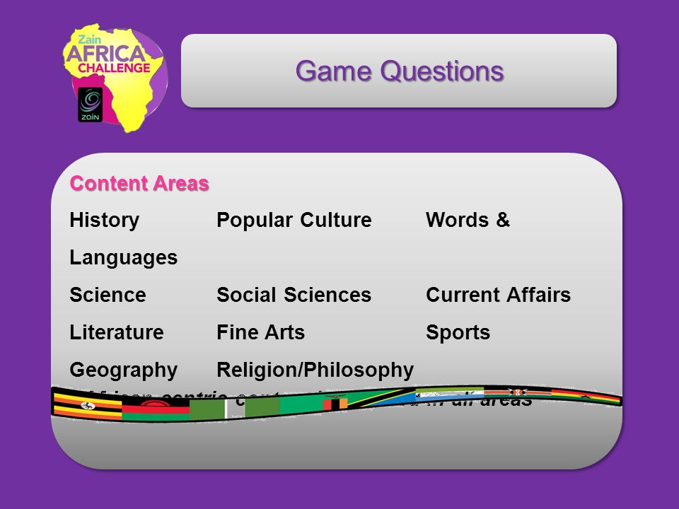 Game Questions Content Areas Content Areas History Popular Culture Words & Languages Science Social Sciences Current Affairs Literature Fine Arts Sports Geography Religion/Philosophy * African-centric content is featured in all areas