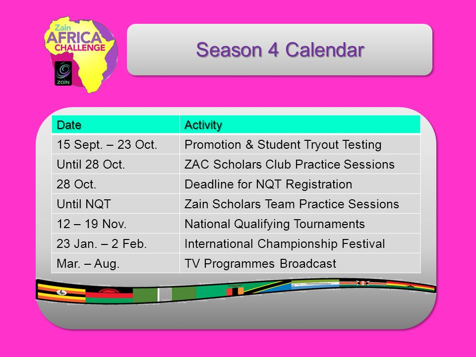 Season 4 Calendar DateActivity 15 Sept.