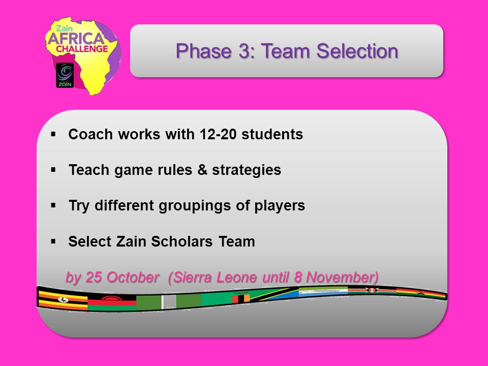 Phase 3: Team Selection Coach works with 12-20 students Teach game rules & strategies Try different groupings of players Select Zain Scholars Team by 25 October (Sierra Leone until 8 November)