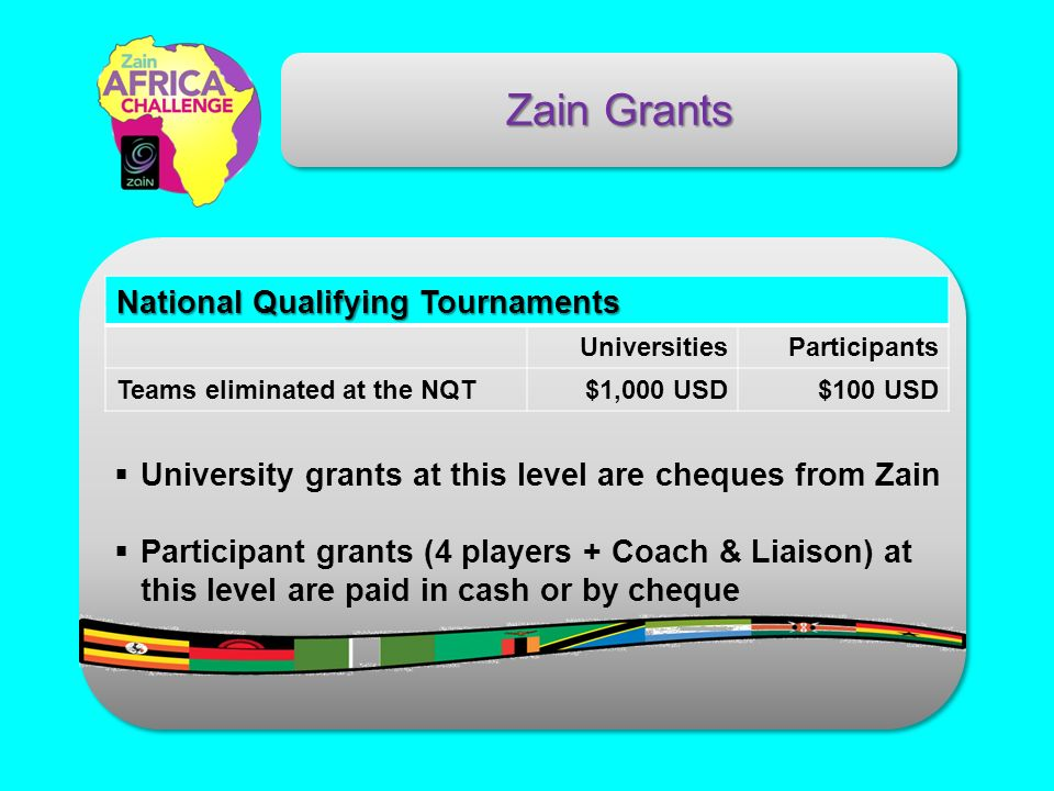 Zain Grants National Qualifying Tournaments UniversitiesParticipants Teams eliminated at the NQT$1,000 USD$100 USD University grants at this level are cheques from Zain Participant grants (4 players + Coach & Liaison) at this level are paid in cash or by cheque