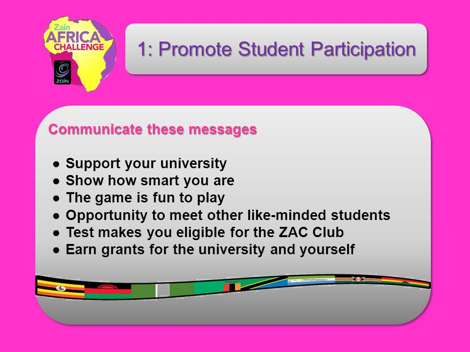 Communicate these messages Communicate these messages Support your university Show how smart you are The game is fun to play Opportunity to meet other like-minded students Test makes you eligible for the ZAC Club Earn grants for the university and yourself 1: Promote Student Participation