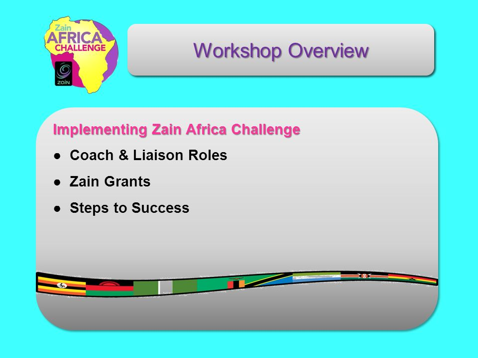 Workshop Overview Implementing Zain Africa Challenge Coach & Liaison Roles Zain Grants Steps to Success